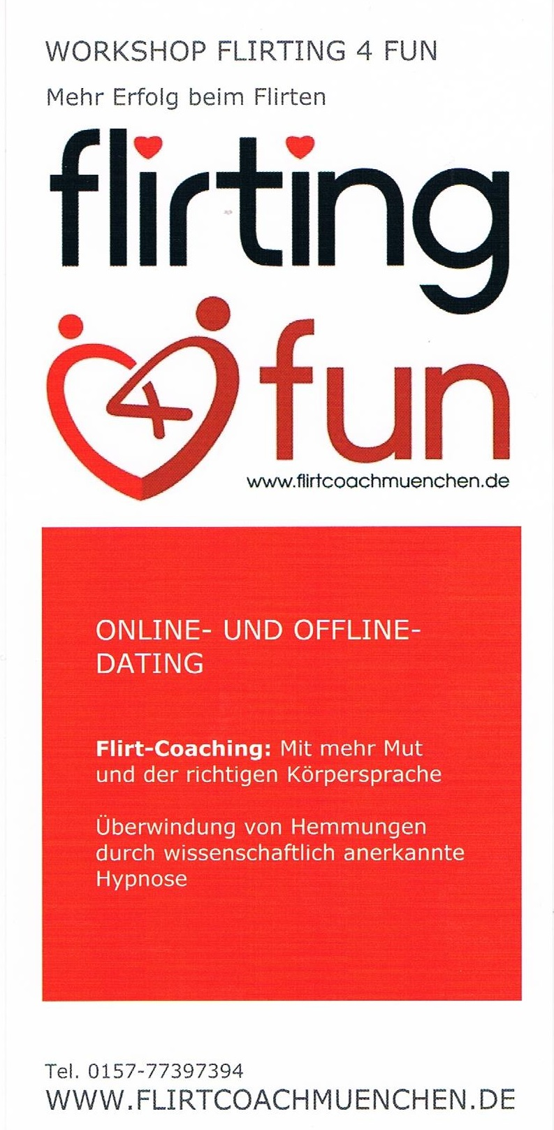 Flyer workshop Flirting 4 fun - Farbe: rot/weiß